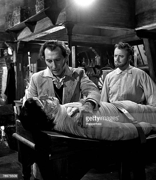 1957 Making the film 'The curse of Frankenstein' at Bray studios Christopher Lee and Peter Cushing two stars of the film