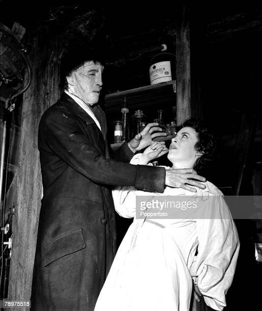 1957 Making the film The curse of Frankenstein at Bray studios Valerie Gaunt and Christopher Lee two stars of the film