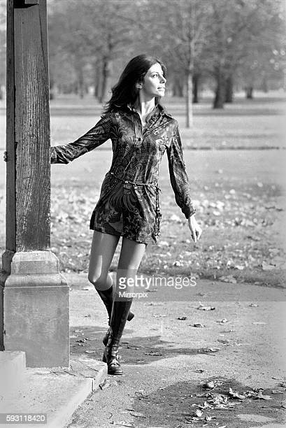 Making use of a sunny day in late November is actress and model Ann Collins who is walking in Kensington Garden November 1969 Z11210001