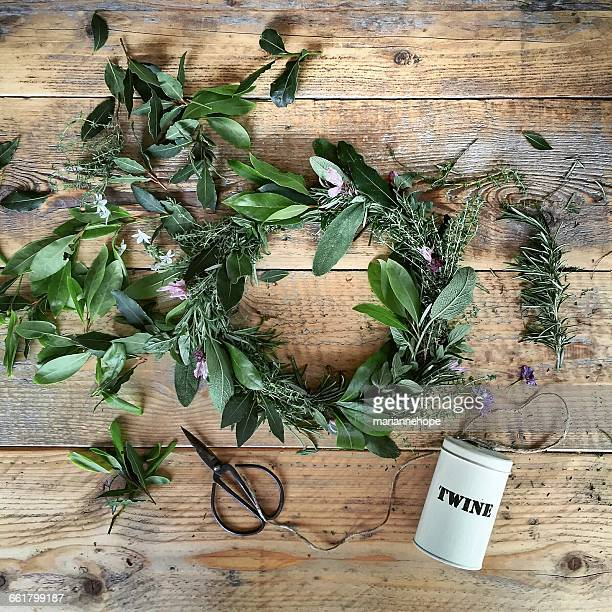 Making wreath using herbs