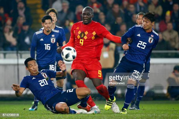Makino Tomoaki defender of Japan Romelu Lukaku forward of Belgium Nagasawa Kazuki midfielder of Japan during the World Cup Friendly Preparation match...