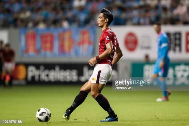 Makino Tomoaki in action during the JLeague J1 match between Sagan Tosu and Urawa Red Diamonds at Best Amenity Stadium on August 11 2018 in Tosu Saga...