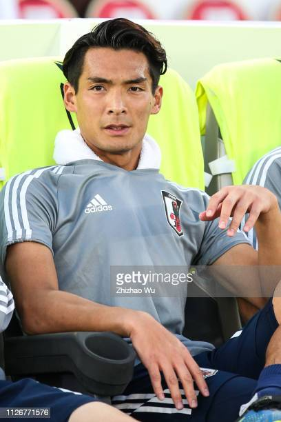Makino Tomoaki of Japan in action during the AFC Asian Cup final match between Japan and Qatar at Zayed Sports City Stadium on February 01 2019 in...