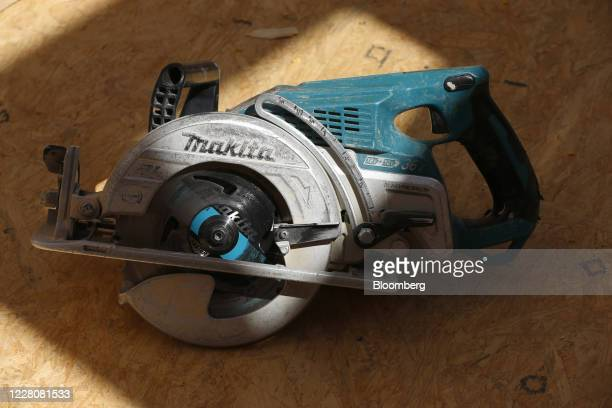 A Makita Corp saw sits on the floor of a house under construction in Park City Utah US on Friday Aug 14 2020 US home construction starts rose 17% in...