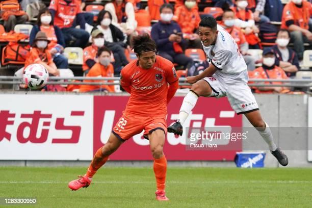 Makito Uehara of FC Ryukyu scores his side's third goal during the J.League Meiji Yasuda J2 match between Omiya Ardija and FC Ryukyu at the NACK5...