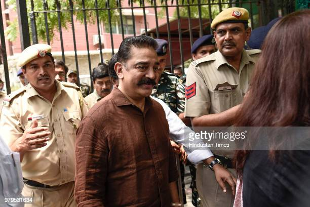Makkal Needhi Maiam President Kamal Haasan after a meeting with Election Commission officials to formally register his party at Nirvachan Sadan on...