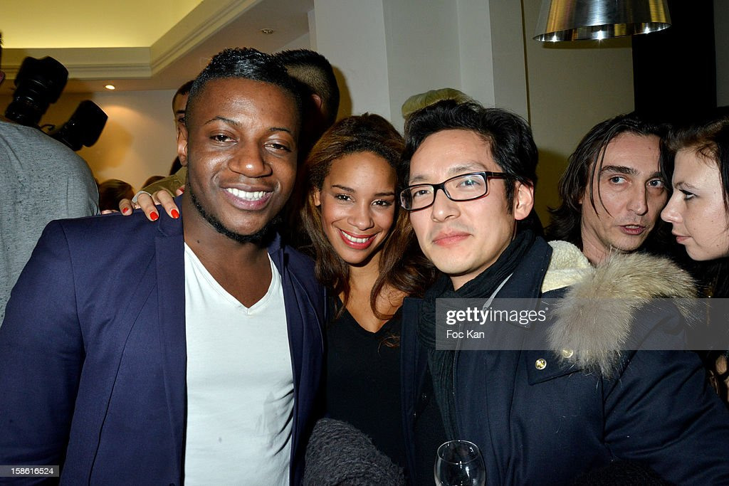 Maklor Babutulua, Alicia Fall and a guest attend the 'Starter TV' Launch Party at Espace Brey on December 20, 2012 in Paris, France.