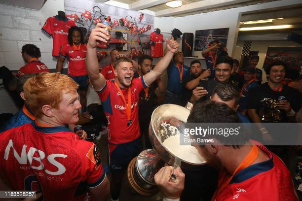 Mako Players celebrate winning the Mitre 10 Cup during the Mitre 10 Cup Premiership Final between Tasman and Wellington at Trafalgar Park on October...