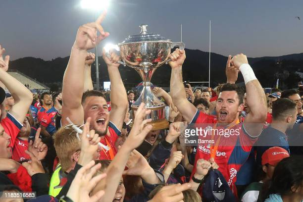 Mako Team Members celebrate with fans during the Mitre 10 Cup Premiership Final between Tasman and Wellington at Trafalgar Park on October 26 2019 in...