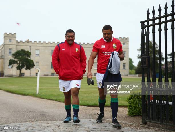 Mako Vunipola and Taulupe Faletau in discussion during a British and Irish Lions photo call at London Syon Park Hotel on May 8 2017 in London England