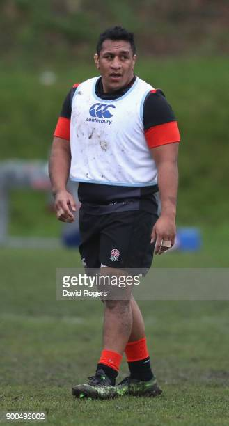 Mako Vunipola looks on during the England training session at Brighton College on January 2 2018 in Brighton England