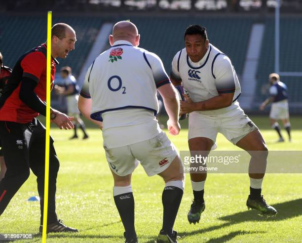Mako Vunipola of England during an England Rugby training session at Twickenham Stadium on February 16 2018 in London England