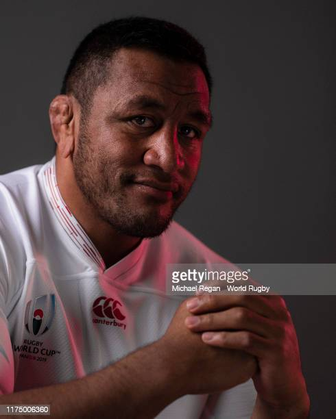 Mako Vunipola of England poses for a portrait during the England Rugby World Cup 2019 squad photo call on September 15, 2019 in Miyazaki, Japan.