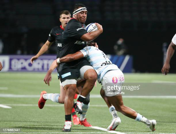 Mako Vunipola of Saracens during the Heineken Champions Cup Semi Final match between Racing 92 and Saracens at Paris La Defense Arena on September 26...