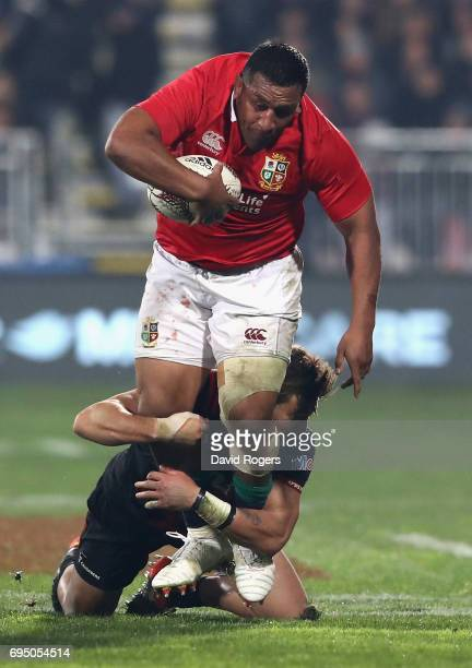 Mako Vunipola of the Lions is tackled by David Havili during the match between the Crusaders and the British Irish Lions at AMI Stadium on June 10...