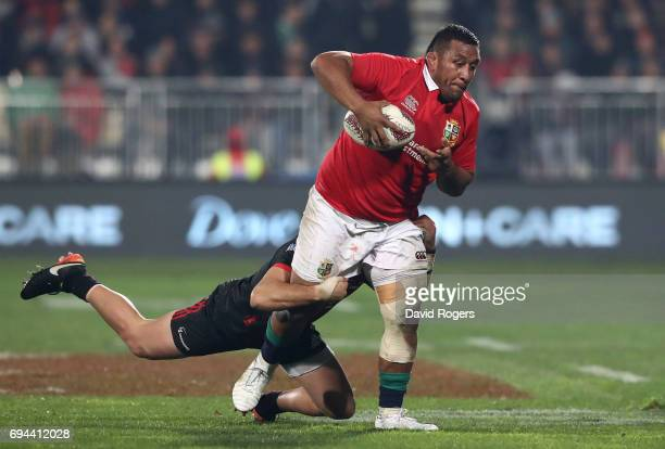 Mako Vunipola of the Lions is tackled by David Kaetau Havili of the Crusaders during the 2017 British Irish Lions tour match between the Crusaders...