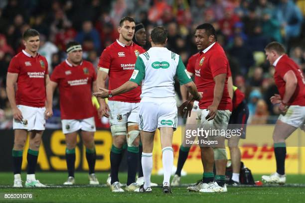 Mako Vunipola of the Lions receives the yellow card from Referee Jerome Garces of France during the second test match between the New Zealand All...