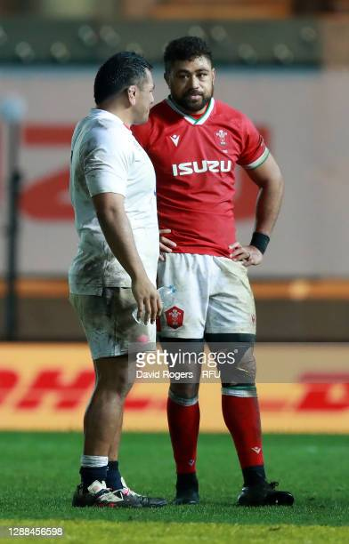 Mako Vunipola talks to Taulupe Faletau of Wales during the Quilter International match between Wales and England as part of the Autumn Nations Cup at...