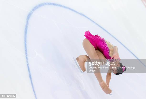Mako Yamashita of Japan competes in the Junior Ladies Short Program on day 2 of the ISU Junior Grand Prix of Figure Skating at Eis Arena Salzburg on...