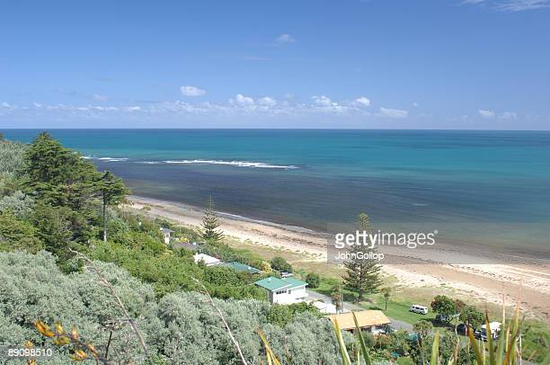 makorori beach, gisborne, new zealand - gisborne stock photos and pictures