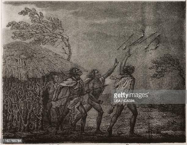 Makossi people chasing away a hurricane Africa lithograph from Galleria universale di tutti i popoli del mondo ossia storia dei costumi religioni...