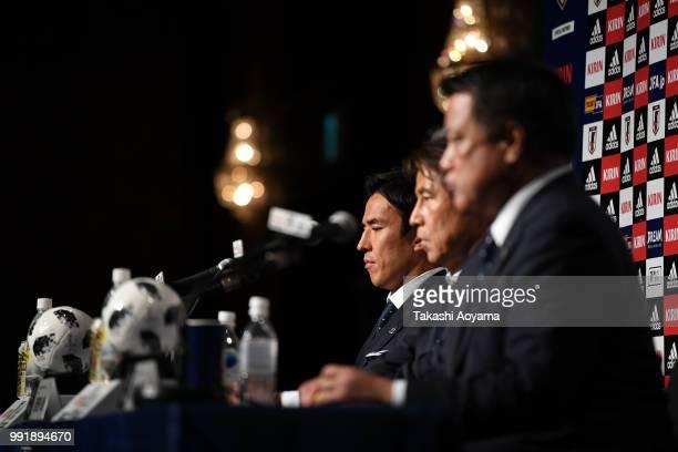 Makoto Hasebe Head coach Akira Nishino and JFA President Kozo Tashima attend a press conference at Hilton Tokyo Narita Airport on July 5 2018 in...