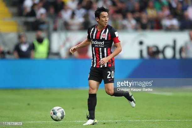 Makoto Hasebe of Eintracht Frankfurt in action during the Bundesliga match between Eintracht Frankfurt and Borussia Dortmund at Commerzbank-Arena on...