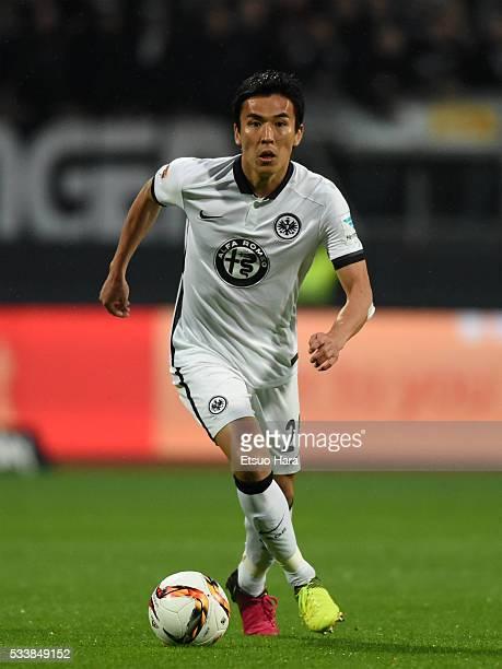 Makoto Hasebe of Eintracht Frankfurt in action during the Bundesliga Playoff second leg match between 1 FC Nuernberg v Eintracht Frankfurt at...