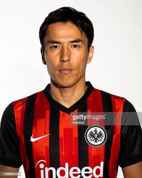 Makoto Hasebe of Eintracht Frankfurt poses during the team presentation on July 30, 2020 in Frankfurt am Main, Germany.