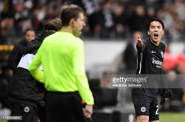 Makoto Hasebe of Eintracht Frankfurt reacts during the UEFA Europa League group F match between Eintracht Frankfurt and Vitoria Guimaraes at on...