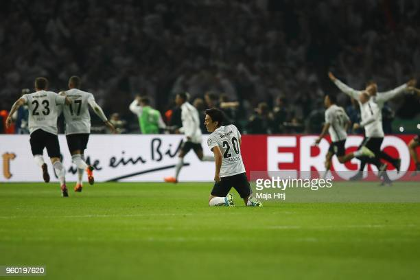 Makoto Hasebe of Frankfurt celebrates after Mijat Gacinovic of Frankfurt scored a goal to make it 13 during the DFB Cup final between Bayern Muenchen...