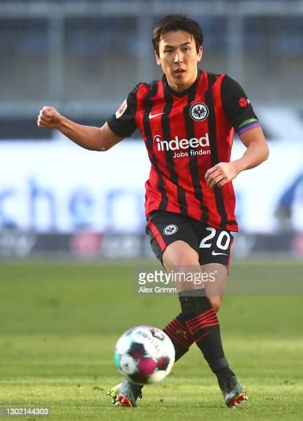Makoto Hasebe of Frankfurt controls the ball during the Bundesliga match between Eintracht Frankfurt and 1. FC Koeln at Deutsche Bank Park on...