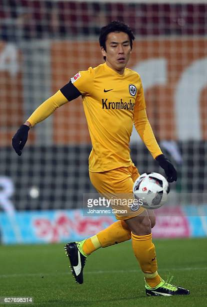 Makoto Hasebe of Frankfurt in action during the Bundesliga match between FC Augsburg and Eintracht Frankfurt at WWK Arena on December 4 2016 in...
