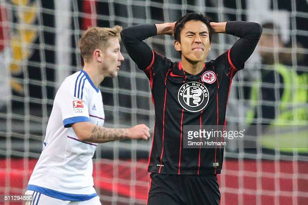 Makoto Hasebe of Frankfurt reacts during the Bundesliga match between Eintracht Frankfurt and Hamburger SV at CommerzbankArena on February 19 2016 in...