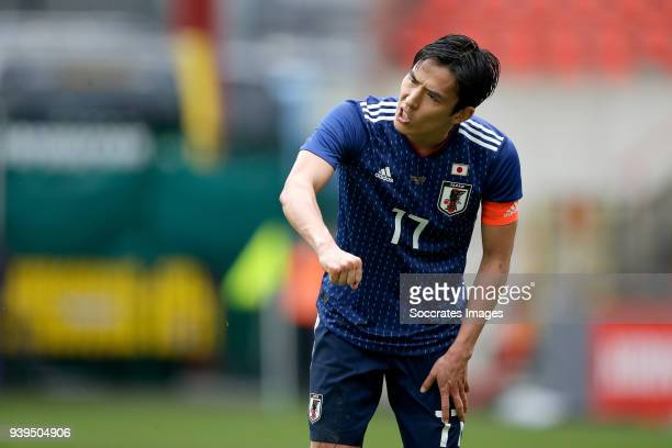 Makoto Hasebe of Japan during the International Friendly match between Japan v Ukraine at the Stade Maurice Dufrasne on March 27 2018 in Luik Belgium
