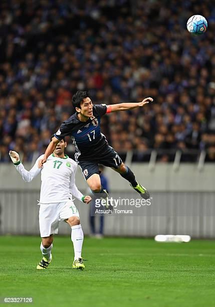 Makoto Hasebe of Japan heads the ball during the 2018 FIFA World Cup Qualifier match between Japan and Saudi Arabia at Saitama Stadium on November 15...