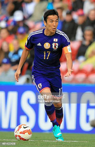 Makoto Hasebe of Japan in action during the 2015 Asian Cup match between Japan and Palestine at Hunter Stadium on January 12 2015 in Newcastle...