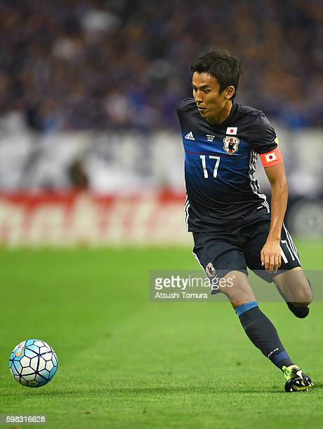 Makoto Hasebe of Japan in action during the 2018 FIFA World Cup Qualifier Final Round Group B match between Japan and United Arab Emirates at Saitama...