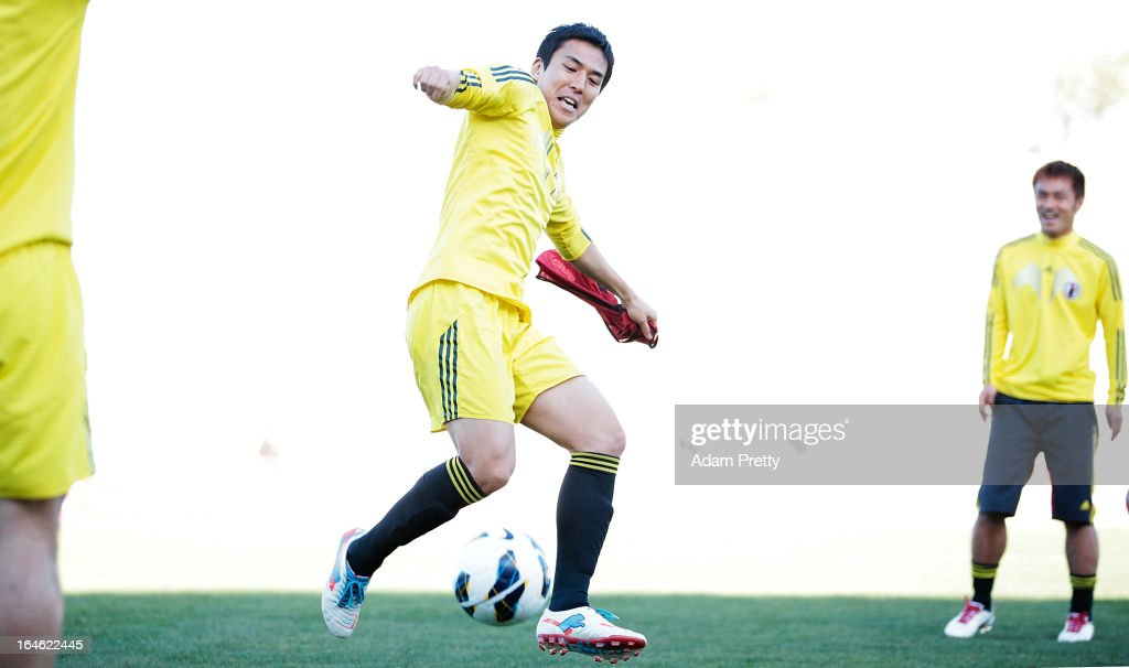 Makoto Hasebe of Japan in action during the training session ahead of the World Cup qualifier against Jordan at King Abdullah International Stadium on March 25, 2013 in Amman, Jordan.