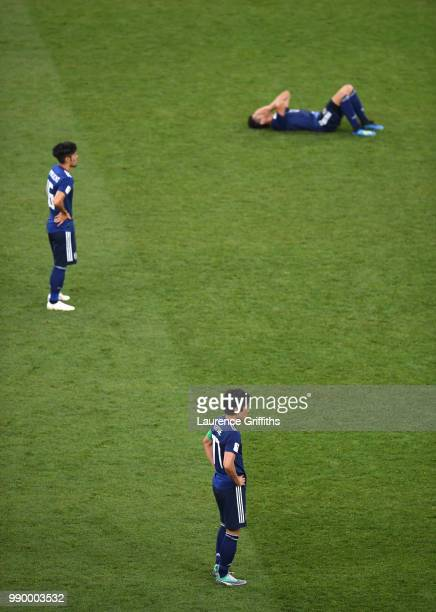 Makoto Hasebe of Japan looks dejected following his sides defeat in the 2018 FIFA World Cup Russia Round of 16 match between Belgium and Japan at...