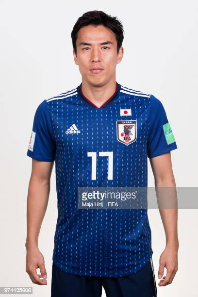 Makoto Hasebe of Japan poses for a portrait during the official FIFA World Cup 2018 portrait session at the FC Rubin Training Grounds on June 14 2018...