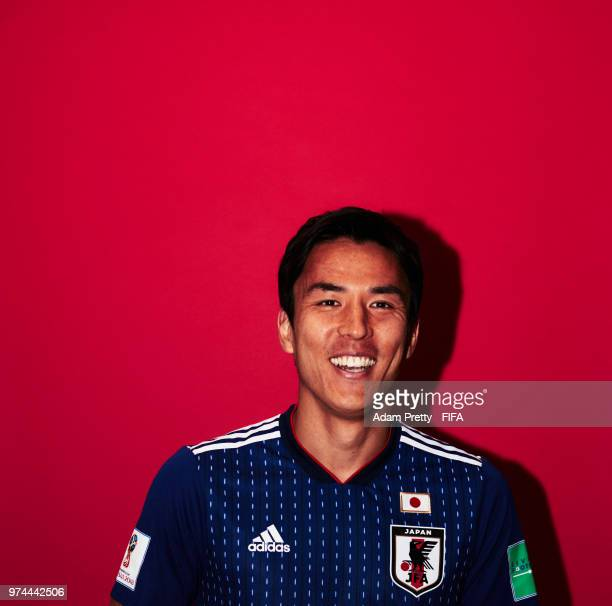 Makoto Hasebe of Japan poses for a portrait during the official FIFA World Cup 2018 portrait session at the FC Rubin Training Grounds on June 14,...