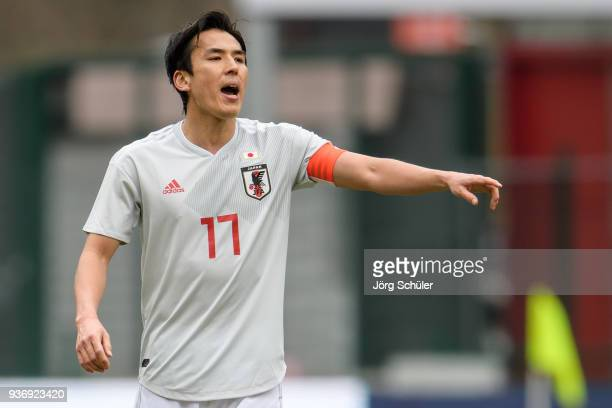 Makoto Hasebe of Japan reacts during an international friendly between Japan and Mali at the Stade de Sclessin on March 23 2018 in Liege Belgium