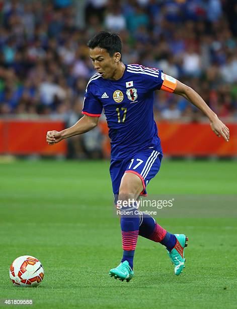 Makoto Hasebe of Japan runs with the ball during the 2015 Asian Cup match between Japan and Jordan at AAMI Park on January 20 2015 in Melbourne...