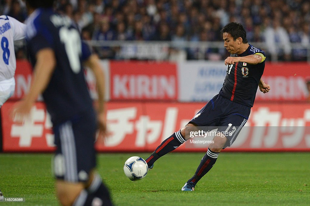 Makoto Hasebe of Japan shots at goal during the international friendly match between Japan and Azerbaijan at Ecopa Stadium on May 23, 2012 in Kakegawa, Japan.