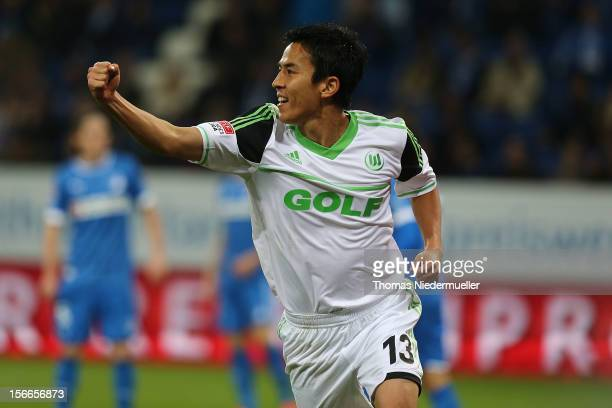 Makoto Hasebe of Wolfsburg celebrates his goal during the Bundesliga match between TSG 1899 Hoffenheim and VfL Wolfsburg at RheinNeckarArena on...