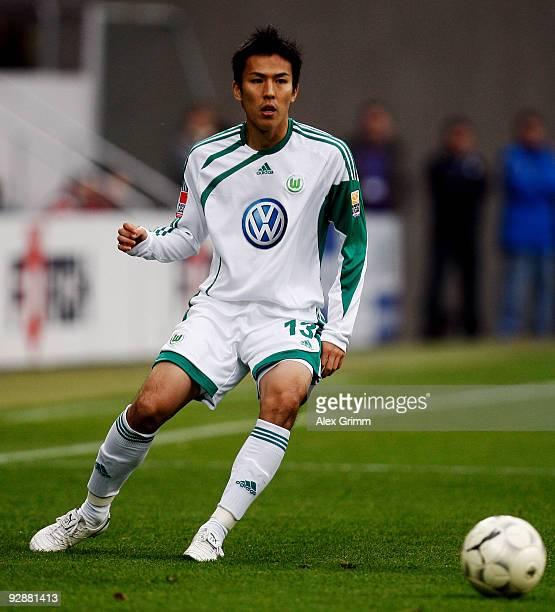 Makoto Hasebe of Wolfsburg during the Bundesliga match between 1899 Hoffenheim and VfL Wolfsburg at the RheinNeckar Arena on November 7 2009 in...