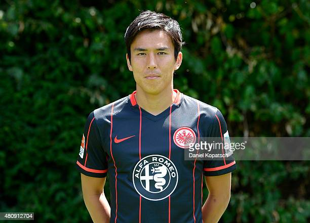 Makoto Hasebe poses during the Eintracht Frankfurt team presentation on July 15 2015 in Frankfurt am Main Germany