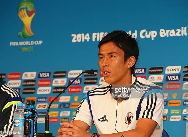 Makoto Hasebe speaks to the media during a Japan press conference at Arena Pantanal on June 23 2014 in Cuiaba Mato Grosso