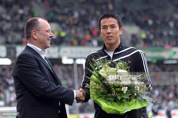 Makoto Hasebe wird fuer sein Erfolg bei der Asien Meisterschaft geehrt vor dem Bundesligaspiels VfL Wolfsburg gegen Hamburger SV in der Volkswagen...